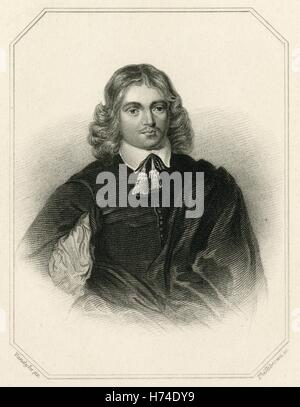 Antique c1840 engraving, young Lucius Cary, 2nd Viscount Falkland. Lucius Cary (1610-1643) was an English author - Stock Photo
