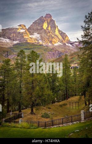 Monte Cervino (The Matterhorn) at Sunrise - Breuil Cervinia, Aosta Valley, Italian Alps, Italy - Stock Photo