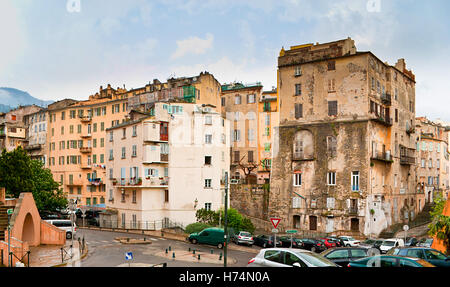 The typical for Bastia cityscape with the slums in the old neighborhood, Corsica, France. - Stock Photo
