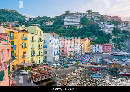 The old fishing village with the colorful houses and a small haven is located in Sorrento - Stock Photo