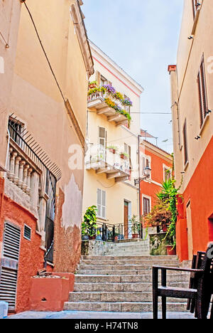 The old town located on the hills, so there are many narrow winding staircases, that runs through the cozy cafes - Stock Photo