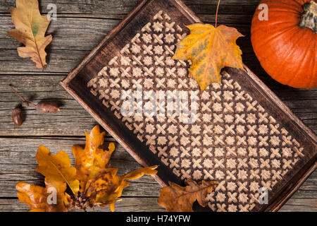 Tray for autumn drinks - Stock Photo