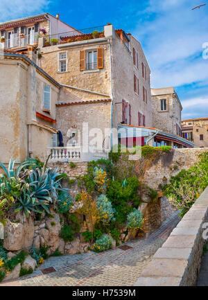 Antibes lies on the Mediterranean sea in the Côte d'Azur, located between Cannes and Nice. - Stock Photo