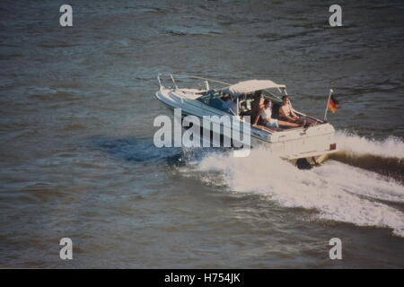 ship with two girls on the River Rhine near Bonn, Germany - Stock Photo