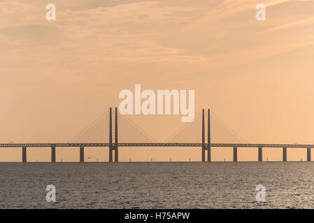 The Oresund Bridge between Denmark and Sweden,view from Malmo,Europe - Stock Photo