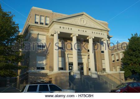 Evening light falls on Boise High School, in Boise, Ada County, Idaho, USA. - Stock Photo