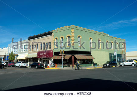 View in the historic downtown area of Laramie, Albany County, in Wyoming, USA. - Stock Photo