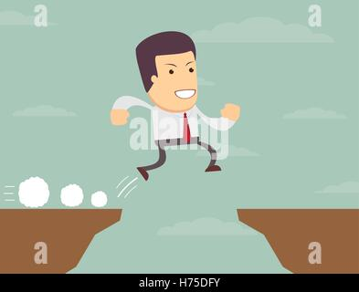 Businessman is jumping over the abyss. - Stock Photo