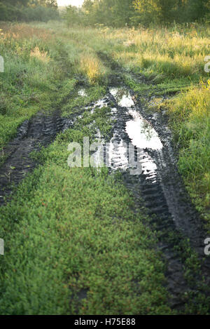 country muddy road - Stock Photo