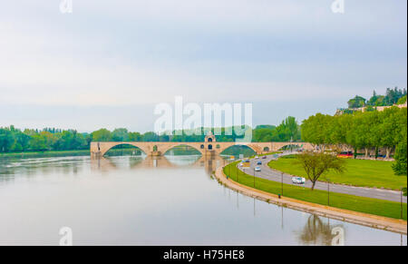 The view on the Rhone river and Pont Saint-Benezet. - Stock Photo