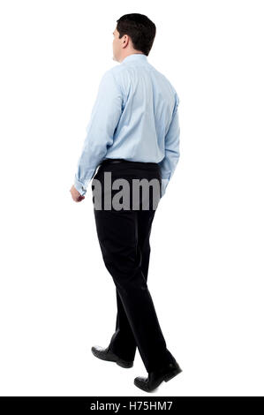 motion postponement moving movement walk go going walking isolated male masculine european caucasian business dealings - Stock Photo