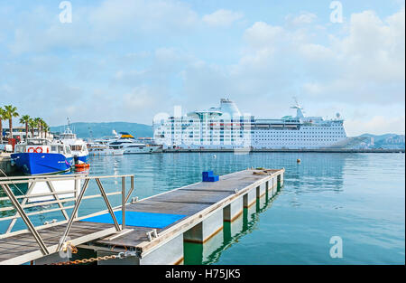The island cruises are very popular among tourists, so the cruise liners often arrive to the city port, Ajaccio, - Stock Photo