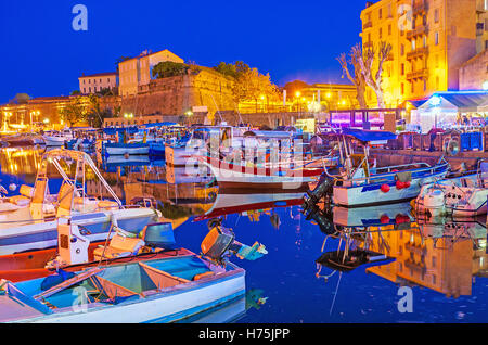 The evening in Ajaccio is the best time to visit port and enjoy dreaming boats and yachts, moored here, Corsica, - Stock Photo