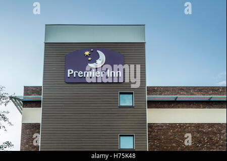 exterior of the Premier Inn Hotel at Hayling Island, Hampshire UK - Stock Photo