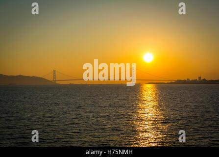 Akashi Kaikyo Bridge Kobe Hyogo Japan - Stock Photo