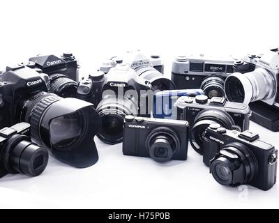 collection of film and digital cameras - Stock Photo
