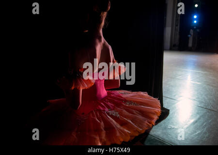 A ballerina is preparing to go on the stage during the All-Russian ballet competition in Moscow, Russia - Stock Photo