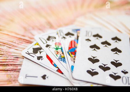 Playing cards Russian money in denominations of five thousand rubles - Stock Photo