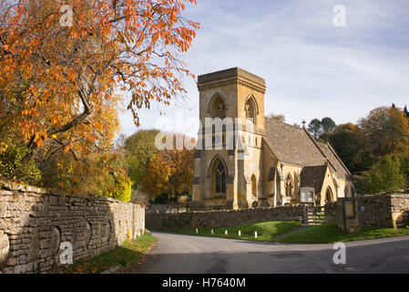 St Barnabas Church in autumn, Snowshill, Cotswolds, Gloucestershire, England - Stock Photo