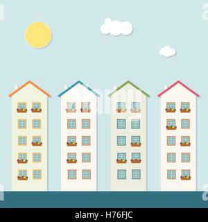 Colorful Houses For Sale / Rent. Real Estate Concept - Stock Photo