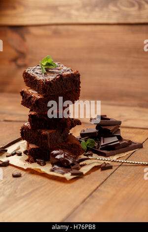 Plate with delicious chocolate brownies - Stock Photo