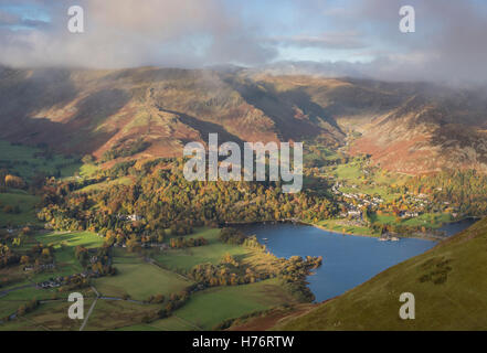 View over Ullswater and Glenridding from Place Fell in autumn, English Lake DIstrict national park, Cumbria, England, - Stock Photo