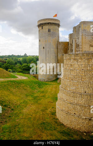 View of the Chateau de Falaise, the Castle of William the Conqueror, in Falaise, Normandy, France - Stock Photo