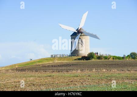 Le Moulin de Moidre, Old windmill, Normandy, France - Stock Photo