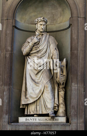 Closeup of the Dante Allighieri monument in Florence - Stock Photo