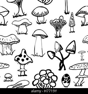 Set of silhouettes of cute cartoon mushrooms isolated on white background. - Stock Photo