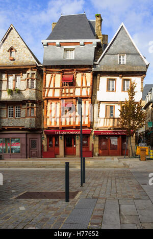 LANNION, FRANCE - SEPTEMBER 27, 2012: Typical half-timbered houses in Lannion, Brittany, France - Stock Photo