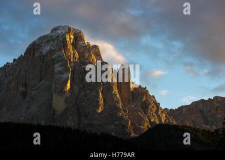 Dolomite mountains at sunset, Val Gardena, South Tyrol, Italy - Stock Photo