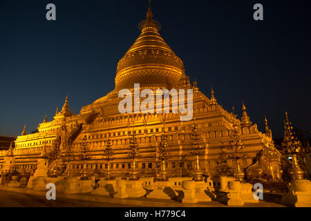 Shwezigon Pagoda at night, Old Bagan, Mandalay, Myanmar - Stock Photo