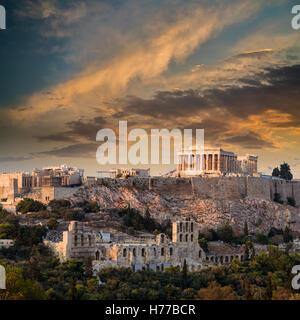 Parthenon temple on Athenian Acropolis at Sunset, Athens, Greece - Stock Photo