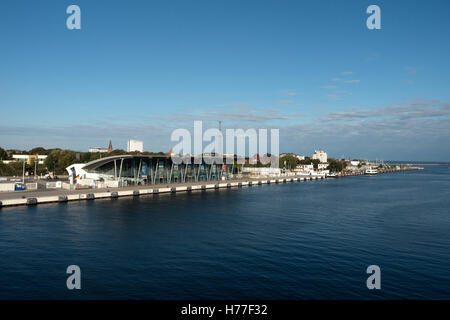 view from Ferryboat at the harbour of Warnemuende, Mecklenburg-West Pomerania, Germany - Stock Photo