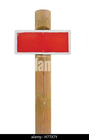 Red hand-painted prohibition warning sign board horizontal metal isolated white frame, wooden pole post copy space - Stock Photo