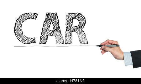 car written by hand, hand writing on transparent board, photo - Stock Photo