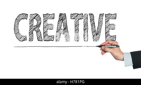 creative written by hand, hand writing on transparent board, photo - Stock Photo