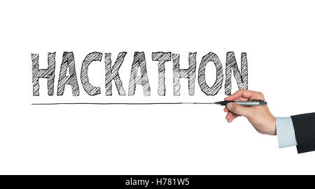hackathon written by hand, hand writing on transparent board, photo - Stock Photo