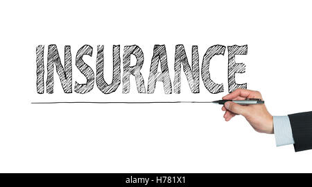 insurance written by hand, hand writing on transparent board, photo - Stock Photo