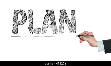 plan written by hand, hand writing on transparent board, photo - Stock Photo
