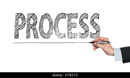 process written by hand, hand writing on transparent board, photo - Stock Photo
