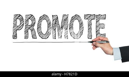 promote written by hand, hand writing on transparent board, photo - Stock Photo