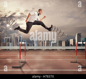 Fast businessman overcome and achieve success. 3D Rendering - Stock Photo