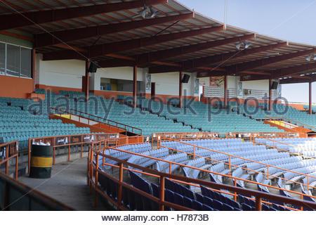Seating and stands in the Estadio Francisco Micheli baseball stadium in the city of La Romana in the Dominican Republic.
