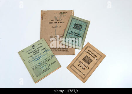 A selection of identity cards and ration books from UK in 1940 - 1950s - Stock Photo