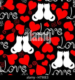 vector hand drawn line red, black and white hearts, lettering and cats seamless background - Stock Photo