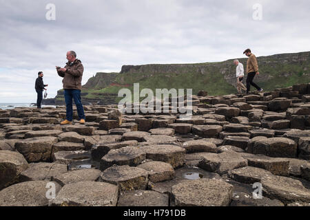 Giants Causeway on the north Antrim coast in Ulster, Ireland. - Stock Photo