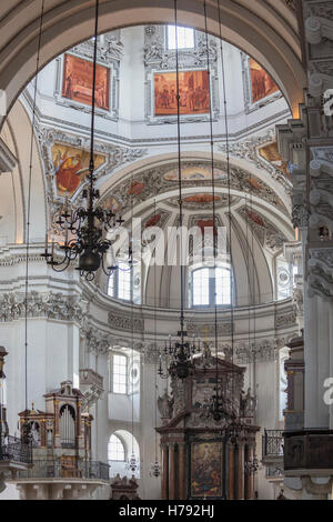 Salzburg Cathedral (Salzburger Dom) in the city of Salzburg in Austria - Stock Photo