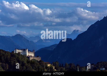 Hohensalzburg Castle sits atop the Festungsberg, a small hill above the city of Salzburg in Austria. - Stock Photo